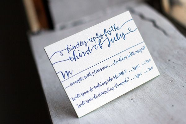Reply Card with String Calligraphy (via @bellafigura) #replycard #wedding