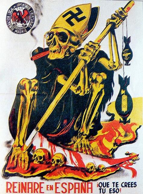 Anti-fascist poster. #Spain #war #poster Magnífico. Todo un ideario en una sola imagen.