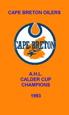 This is what the actual Oilers' 1993 Calder Cup banner looks like.