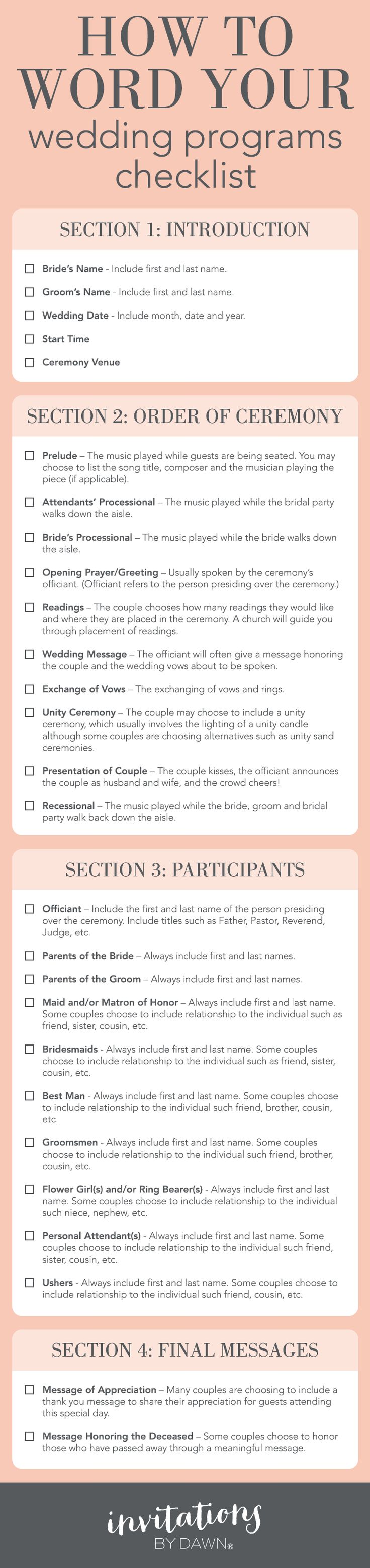 A Checklist: How to Word Your Wedding Programs                                                                                                                                                                                 More