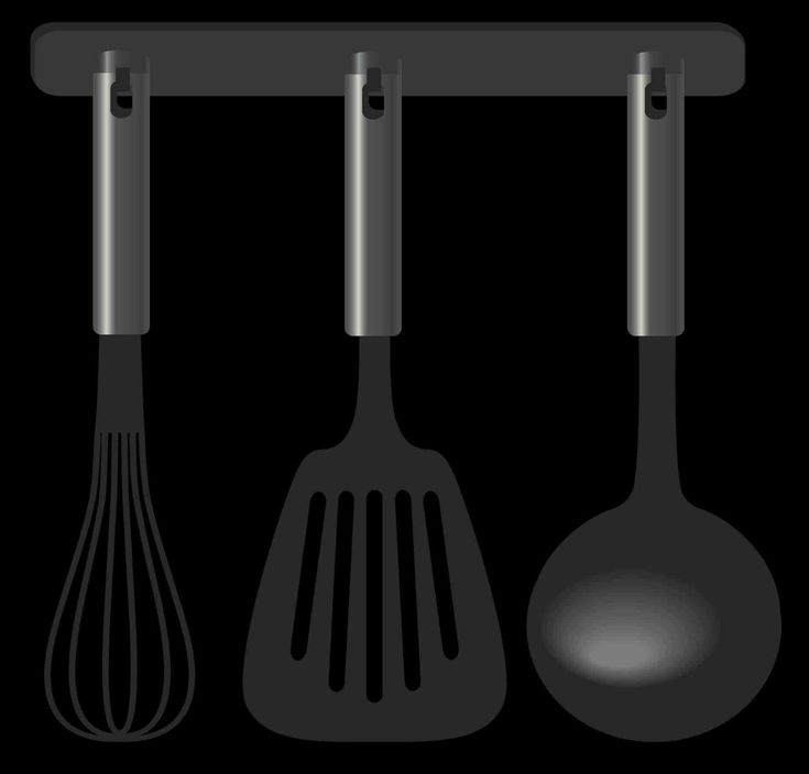 New Post kitchen tools clip art black and white