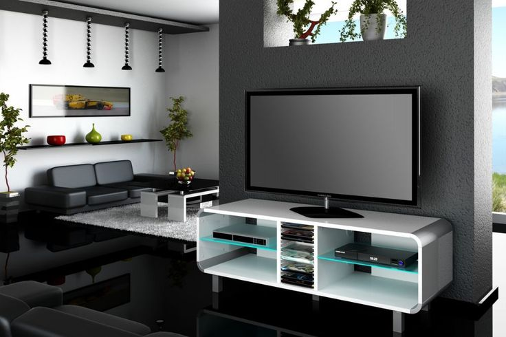 "Suitable for up to 55"" televisions, the Primus White tv cabinet has a iluminated glass shelves for your devices. Space for 15 DVDs in the middle."