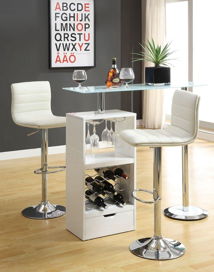 Home Bar Unit Modern Style White Finish Bar Unit With Frosted Tempered  Glass Top And Chrome