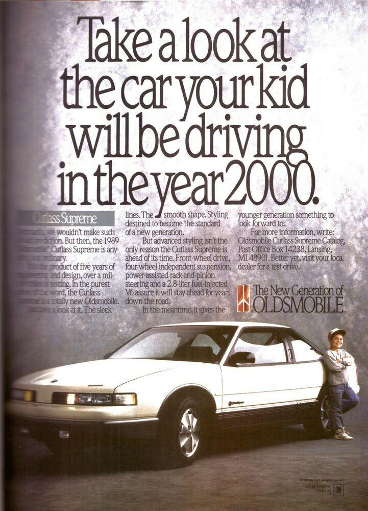 1988 Oldsmobile Cutlass Supreme Year 2000 Car Automobile Vintage Print Ad 1980s Ebay Oldsmobile Oldsmobile Cutlass Supreme Oldsmobile Cutlass