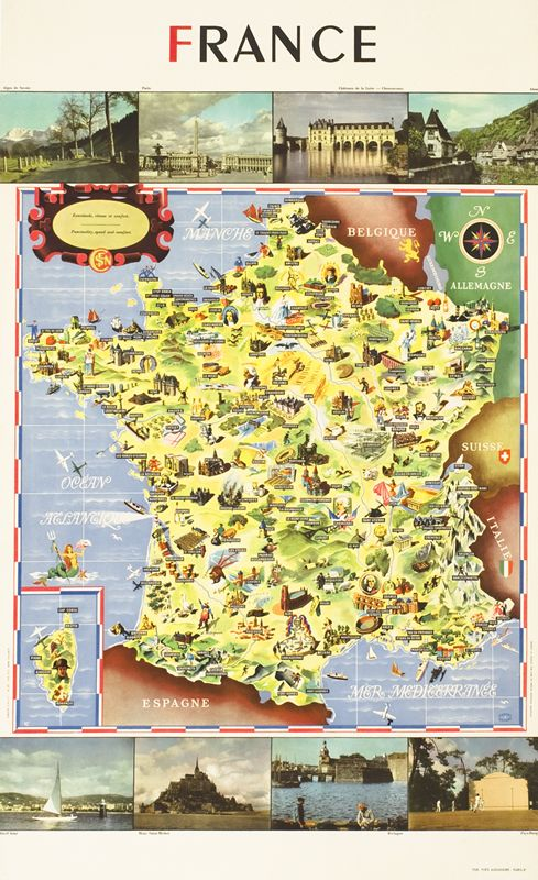 SNCF, Carte de France, par Cheval Batany, 1947.