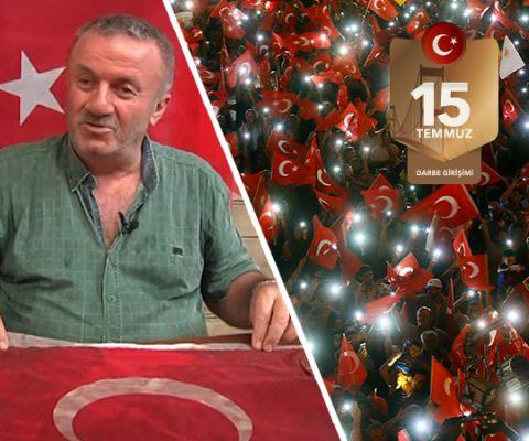 """'Oğlumun kanıyla ıslanan bayrağı yıkatmam'  FETÖ tarafından gerçekleştirilen 15 Temmuz darbe girişimi sırasında Borsa İstanbul'un önünde hainlerin açtığı ateş sonucu şehit olan Fatih Satır'ın babası Turan Satır, """"Değil ben, Türk milleti yıkılmayacak. İslamiyet yıkılmayacak"""" dedi."""
