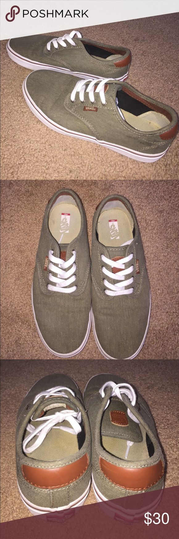 Vans Pro Skateboard Shoes, Green & Brown Leather These shoes are gently used.  I wore them only a few times (women's size 7.5).  They are boys size 6 but can also fit women.  They have more arch support and cushioning than typical Vans shoes.  They also come with an extra pair of army/olive green laces! Let me know if you have any questions :) Vans Shoes