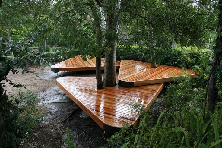 Spotted Gum Decks built around an existing tree at a local school on the Gold Coast.These Timber Decks provide a great spot for the kids to eat their lunch.