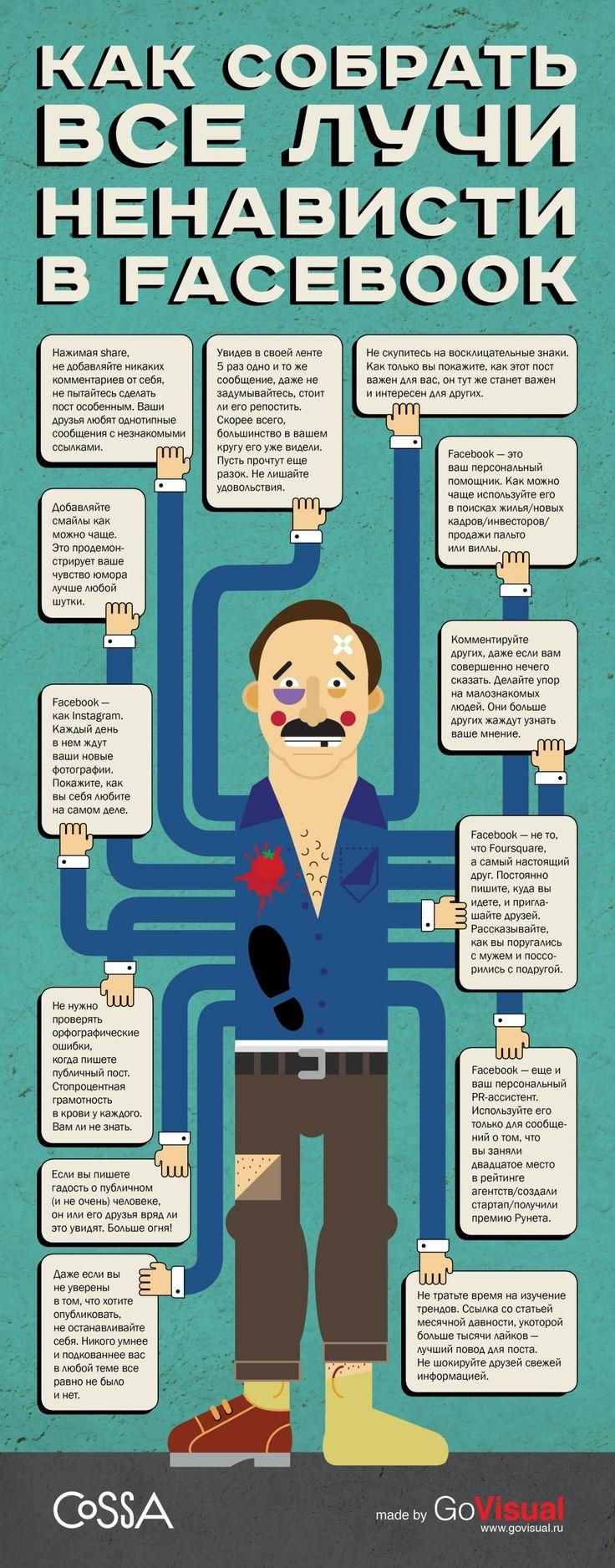 Что делать в Facebook, чтобы получать как можно меньше лайков и фолловеров. Источник: http://www.cossa.ru/articles/152/38535/