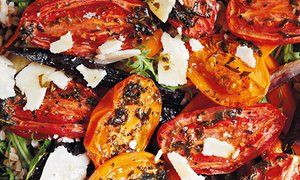 Farro, capers, herb-baked tomatoes, roast carrots and Parmesan --- Peter Gordon, The Guardian