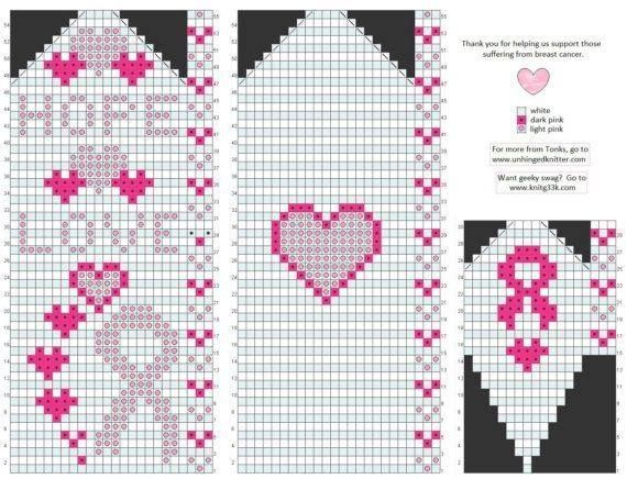 Breast cancer awareness mittens pattern