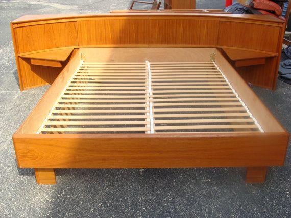 Vintage Danish Teak King Size Floating Platform Bed With