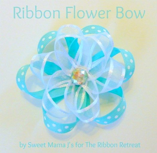 ribbon-flower-bowHairbows, Bows Tutorials, Fabrics Bows, Hair Bows, Ribbons Flower Bows, Flower Tutorial, Diy, Crafts, Ribbon Flower