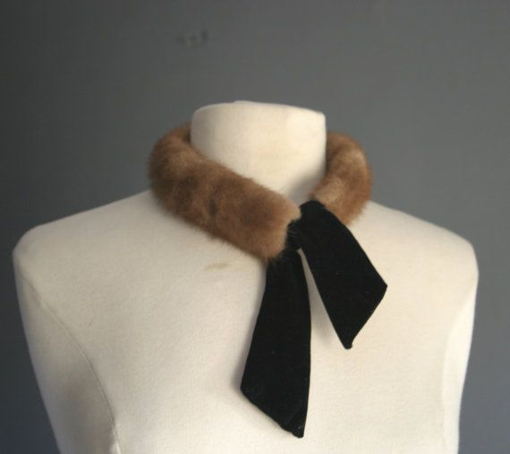 50s Mink Collar with Velvet Tie