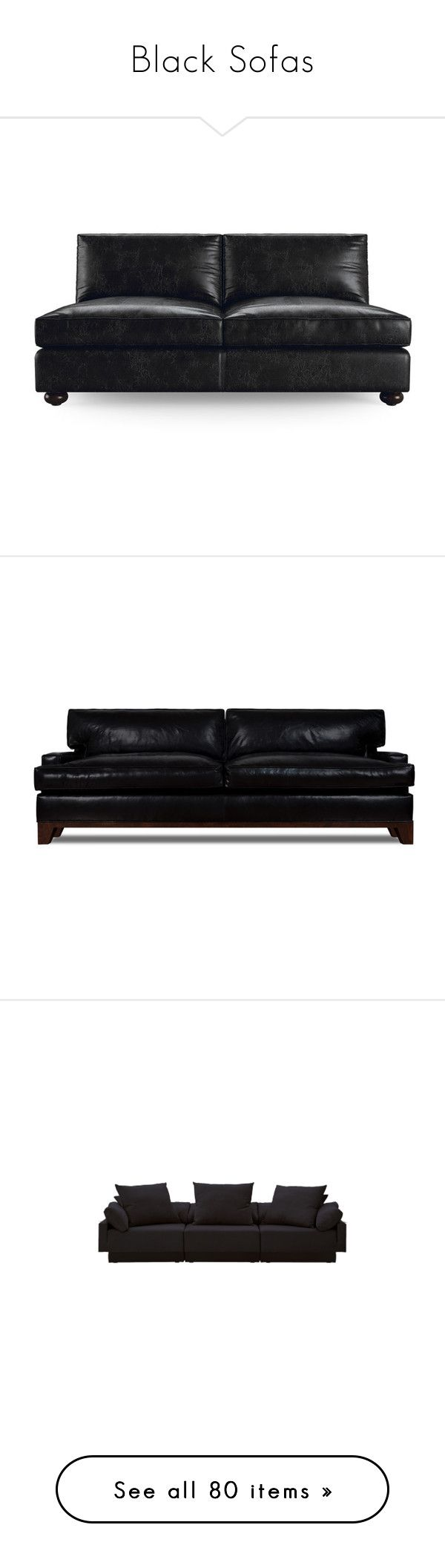 """Black Sofas"" by lailoooo ❤ liked on Polyvore featuring home, furniture, sofas, black, loveseats, leather couch, leather furniture, olive green couch, black loveseat and leather loveseat"