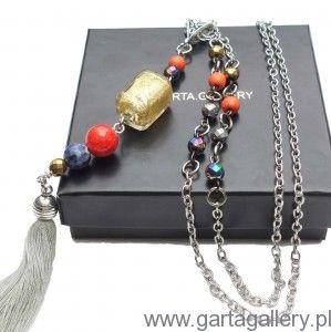 Naszyjnik z kolorowym wisiorem BOHO i półszlachetnymi kamieniami ARA