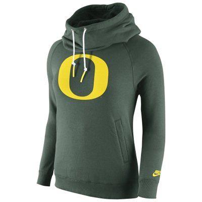 Oregon Ducks Nike Womens Rally Funnel Hood-Rewind Sweatshirt – Green