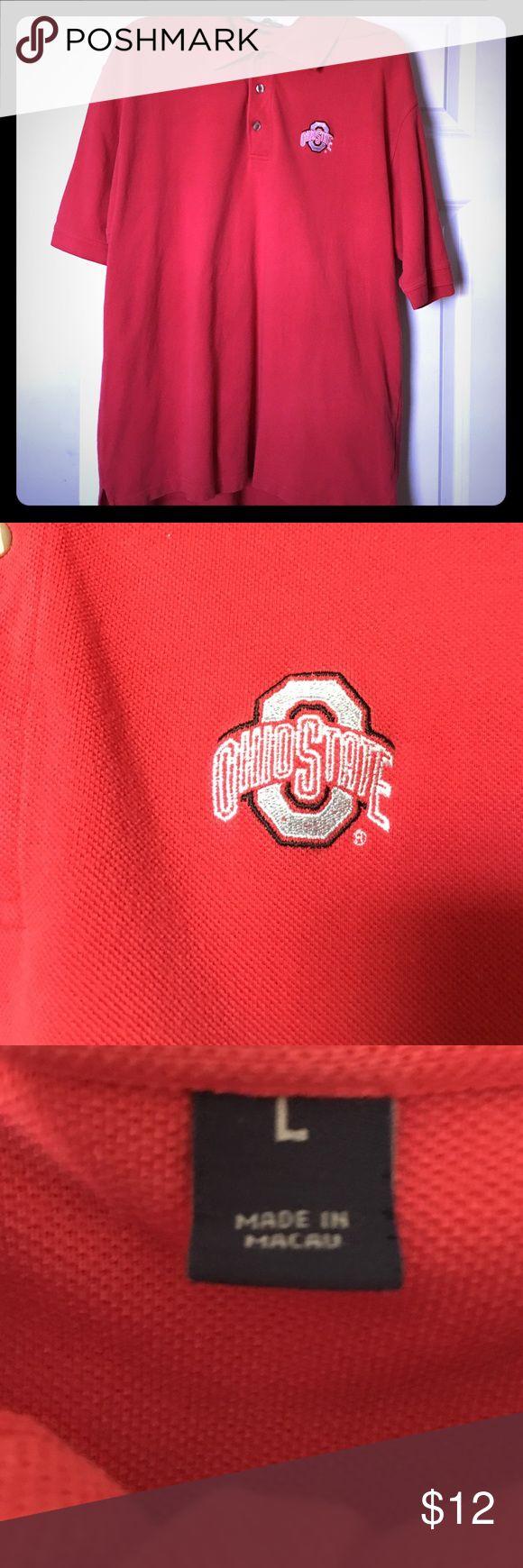 Ohio State Polo Size L SALE SEE BELOW Red OSU Polo, no damage, good condition. BUNDLE AND SAVE 2 for $15 MEN'S SHORTS AND SHIRTS MIX AND MATCH!! JUST BUNDLE AND SEND OVER AN OFFER FOR $15 Shirts Polos