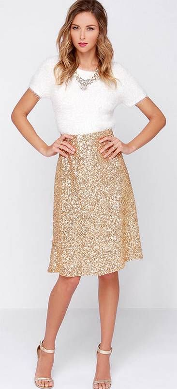 Gold Metallic Sequin Sparkle A Line Flare Knee Length Midi Skirt Glam Pretty NWT - Skirts