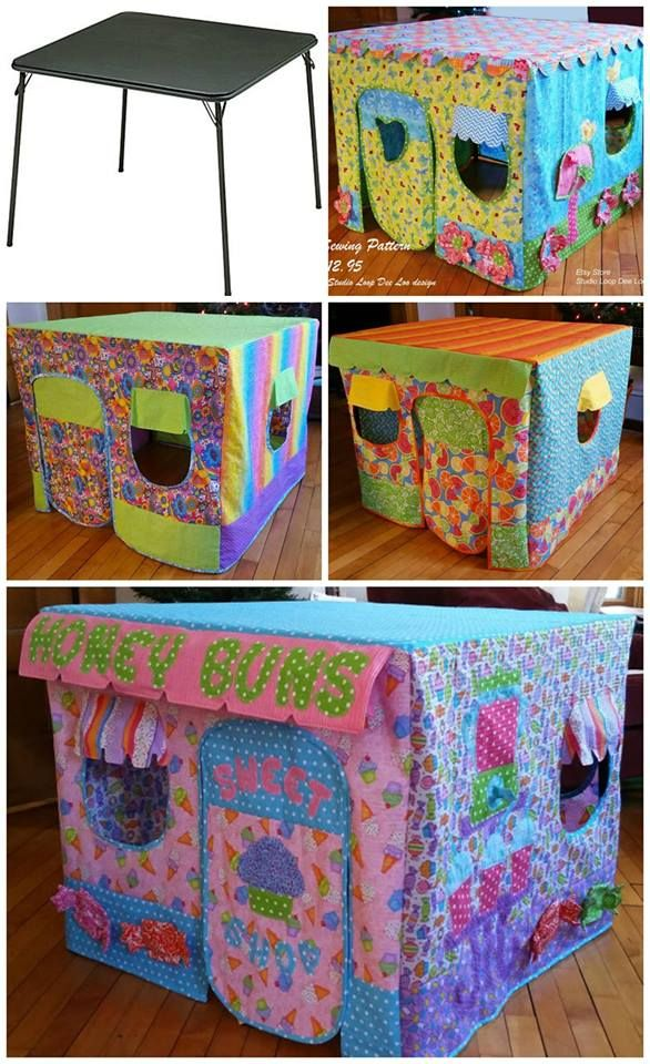 from https://www.facebook.com/KitchenFunWithMy3Sons/ CARD TABLE PLAYHOUSE COVERS...such a fun idea!! The kids would just LOVE these!! Get the patterns here (aff)--->http://rstyle.me/n/cdjs9zb5zc7 or already made ones here--->http://rstyle.me/n/cdjtaeb5zc7