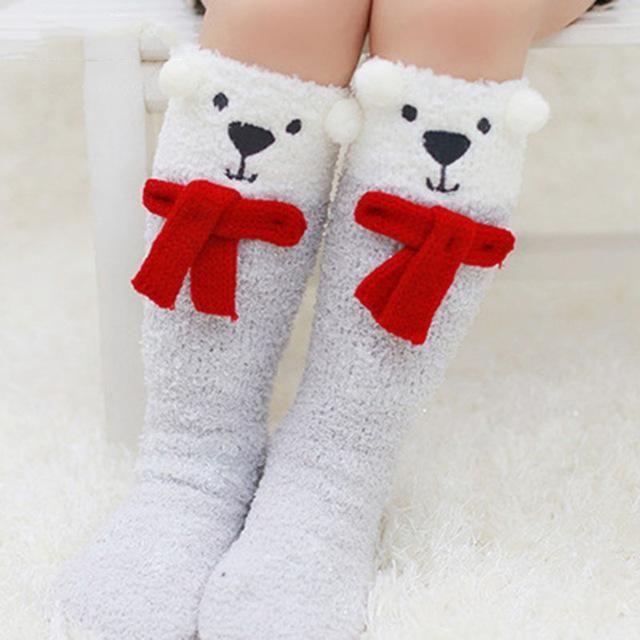 Plush Polar Bear  Toddler  Socks