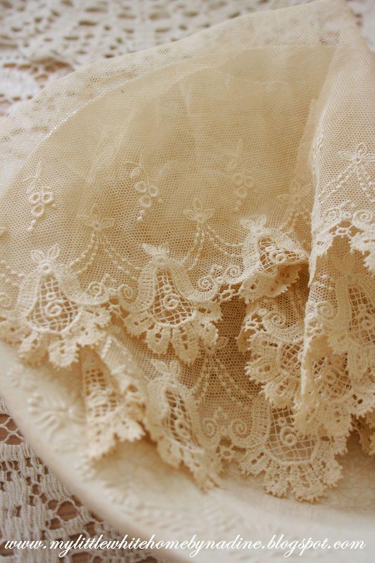 Lovely old lace..   http://mylittlewhitehomebynadine.blogspot.nl/2014/05/brocante-op-de-zomerdijk.html