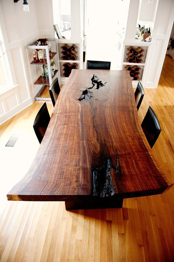 Modern Live Edge Claro Walnut Slab Dining by TaylorDonskerDesign