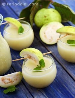 A mouth-watering blend of guava puree, ginger and lemon juice, garnished with sprigs of mint that add an irresistible aroma and flavour to the Guava Punch. Cooking the guava helps to soften it before pureeing, while straining this mixture helps remove the guava seeds that might spoil the rich and creamy mouth feel of this drink. Pungent ginger and tangy lemon help to both enhance and balance the natural sweetness of guava very pleasantly.