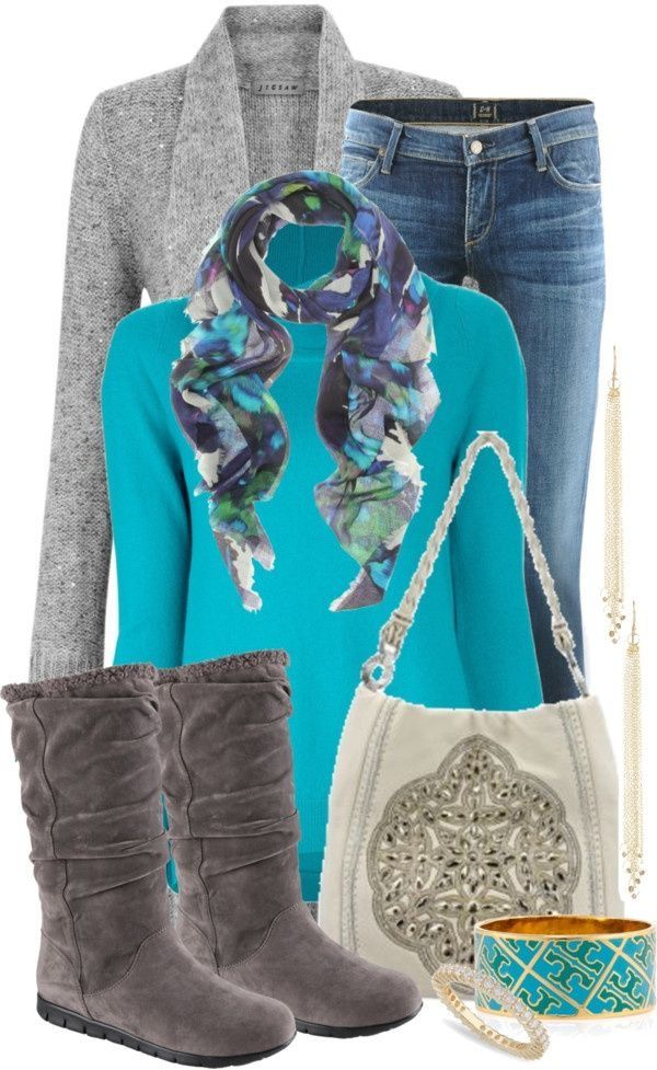 Med denim skinny jeans, turquoise top, gray boots and cardigan
