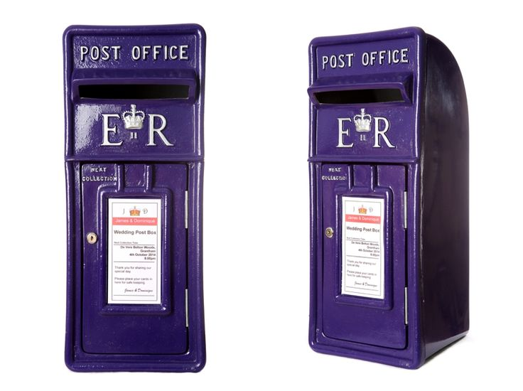 Royal mail post box in Cadburys purple with silver lettering / wedding post box…