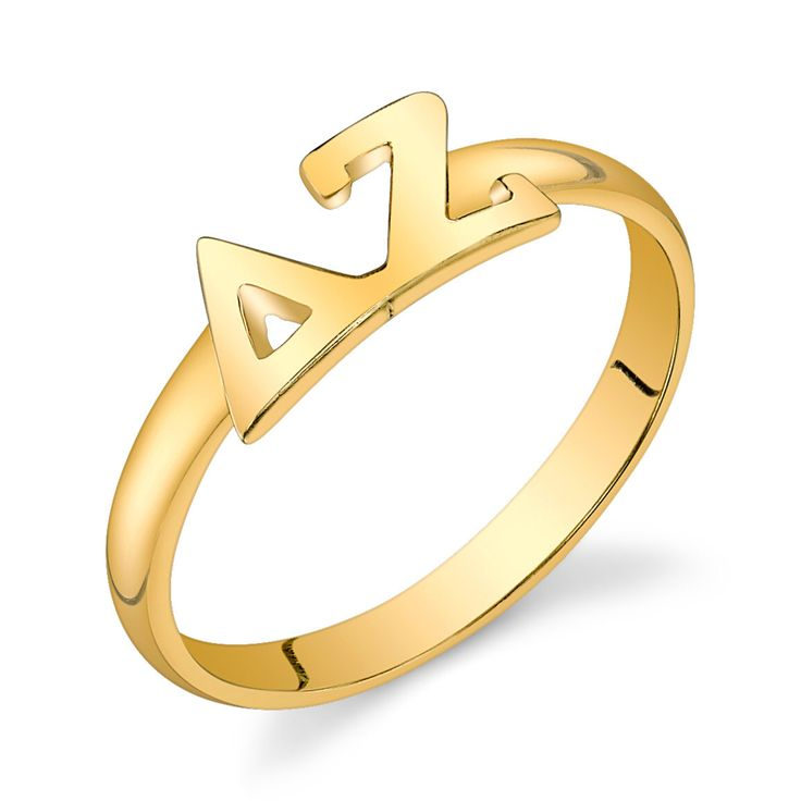Gold Vermeil Delta Zeta Letter Ring by GreekGirlShop on Etsy https://www.etsy.com/listing/169807852/gold-vermeil-delta-zeta-letter-ring