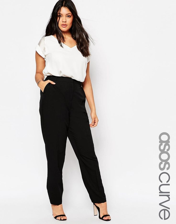 Easy workwear: V-neck top tucked into Asos Straight Leg Pant