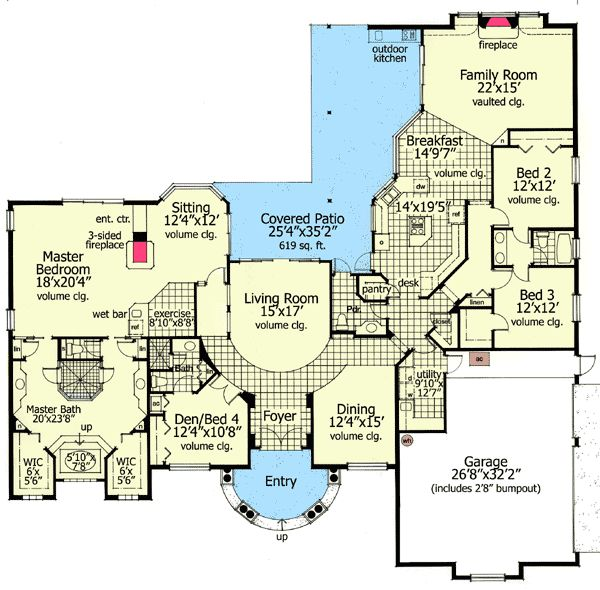 Plan W6316HD: Corner Lot, Mediterranean, Photo Gallery, Florida House Plans & Home Designs -like this just could chop off the right top end. Who needs a formal living room and a family room?