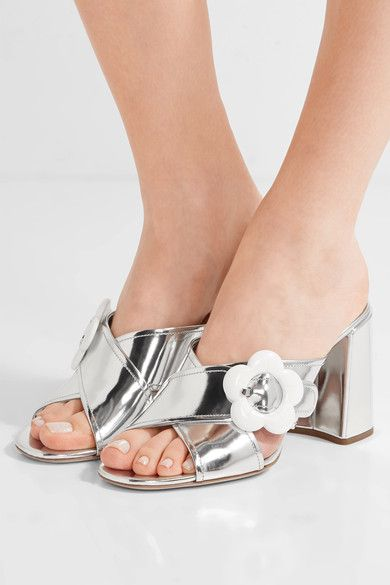 Prada - Embellished Mirrored-leather Mules - Silver - IT40