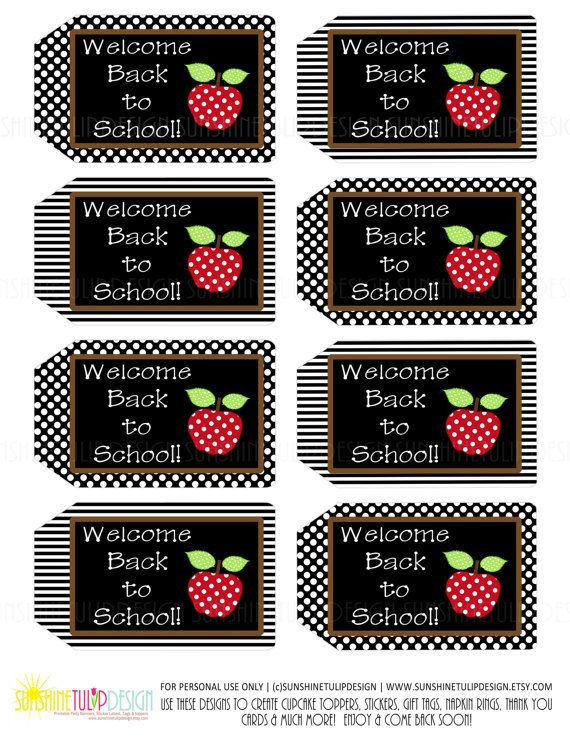 DIY Printable!  So Cute for students, teachers, family & friends!  Teacher Appreciation Welcome Back To School by sunshinetulipdesign