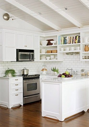 small cottage kitchen- love the all white