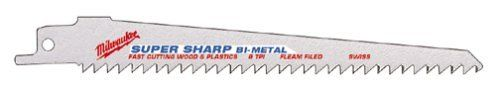 Milwaukee 48-00-5016 9-Inch Super Sawzall Blade, 6 Teeth Per Inch