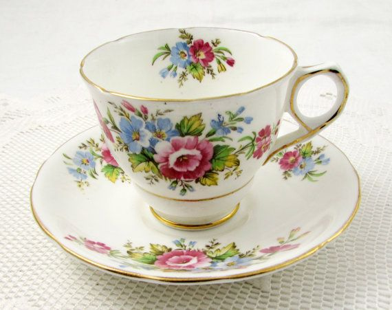Vintage Tea Cup and Saucer with Flowers, Made by Royal Stafford, English Bone China