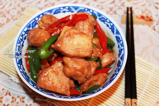 Быстро обжаренные острые кусочки курицы с соусом Чар Сиу (рецепт с фото) | Китайская кухня