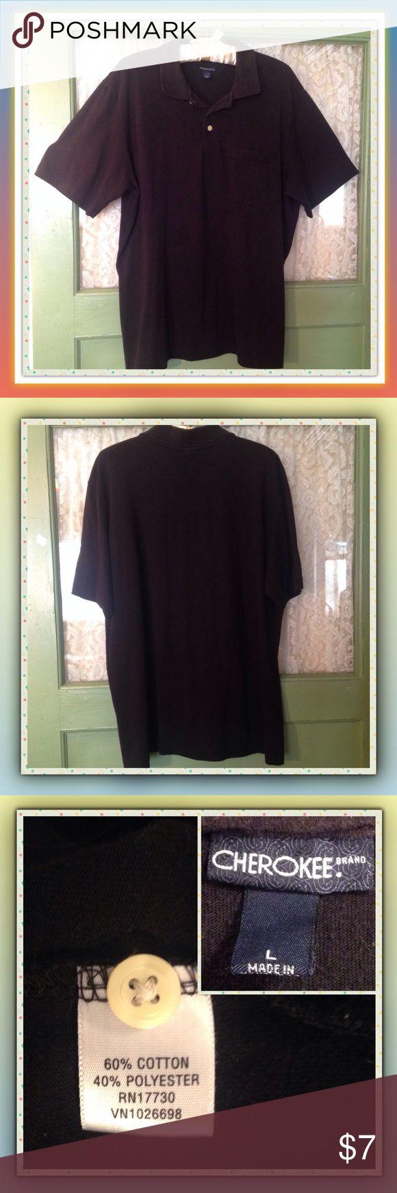 Men' CHEROKEE Brand Black Polo Shirt Black 3-button pullover CHEROKEE Brand Polo shirt. Size L 60% Cotton 40% Polyester Cherokee Shirts Polos