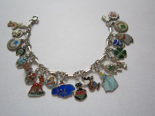 Altes Bettelarmband Silber Charm Bracelet Email Enamel Walt Disney
