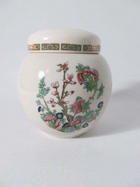 Vintage Sadler England Ginger Jar Tea Caddy Indian Tree Floral Decor