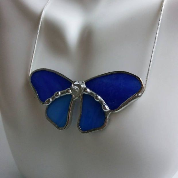 Blue Butterfly Stained Glass Necklace, Statement Necklace, Stained Glass Jewelry, Suncatcher Necklace, High Quality Stained Glass
