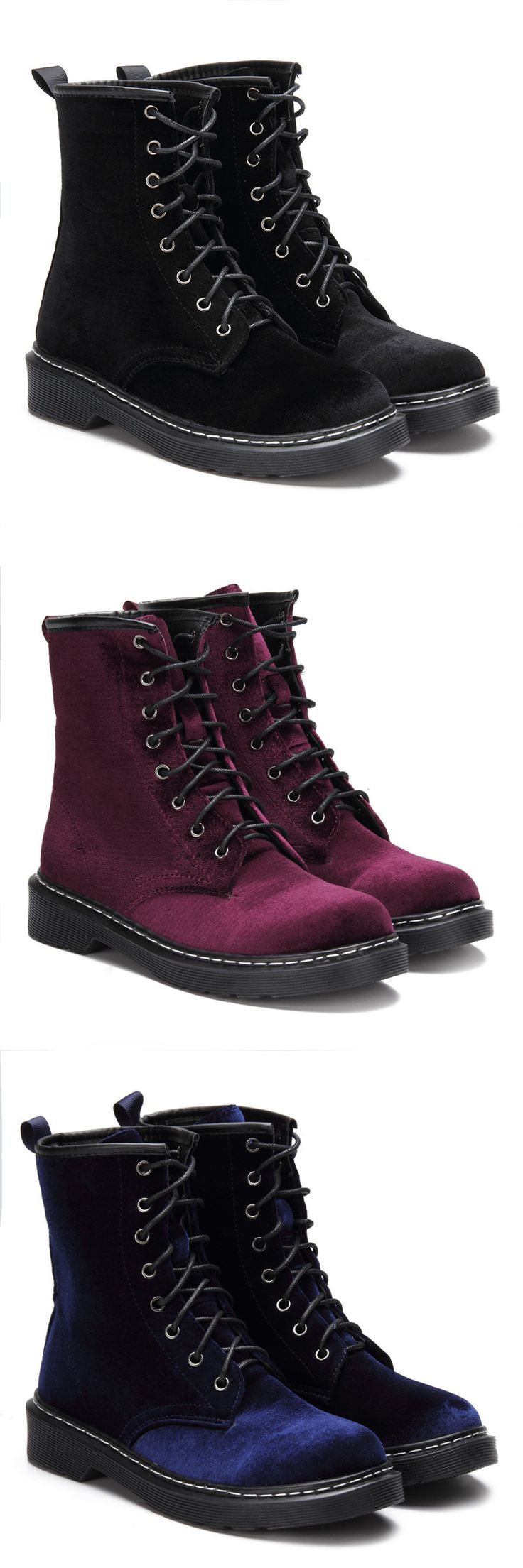Velvet Lace-up Design Short Boots