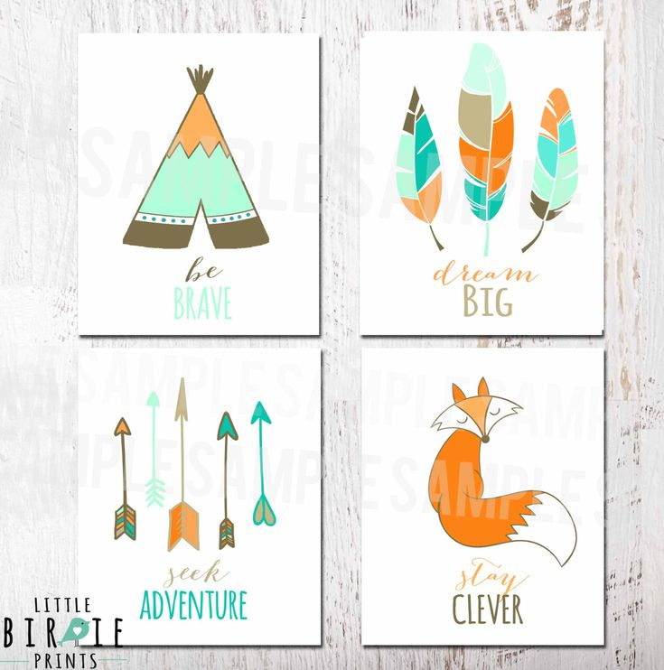 TRIBAL NURSERY WALL Art  Set Printable Tee-pee Fox Arrows Feather Art Kids Room Printable Wall Art Fox Be Brave Dream Big Stay Clever by littlebirdieprints on Etsy https://www.etsy.com/listing/231119028/tribal-nursery-wall-art-set-printable