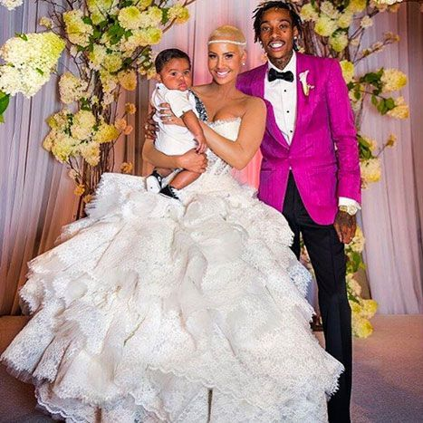 Amber Rose Reveals Wedding Day Dress, Pictures With Wiz Khalifa in Honor of First Anniversary, wearing Pnina.