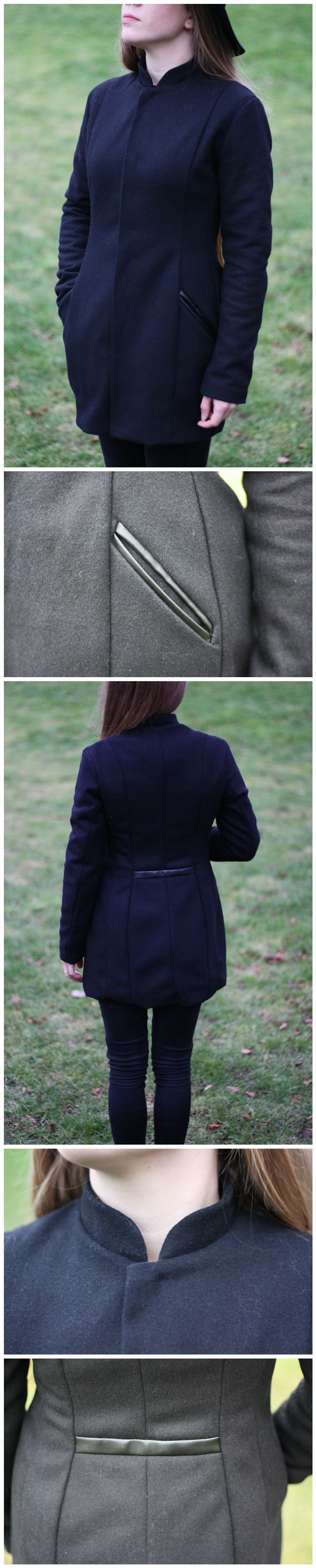 Black Wool Coat with Leather Details