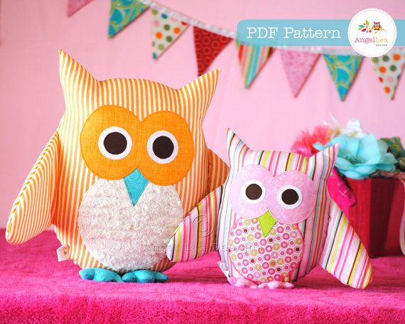 Owl Pattern. PDF Sewing Pattern for Owl Soft Toy, Cushion, Pillow, Plushie, Home Decor, Easy How To, Make and Sell, DIY, Instant Download on Etsy, $10.62