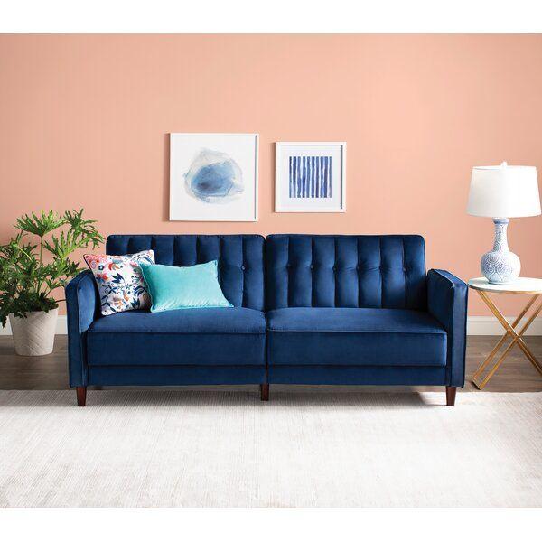 Nia Velvet 81 5 Square Arm Sleeper Convertible Sofa Furniture Sofa Furniture