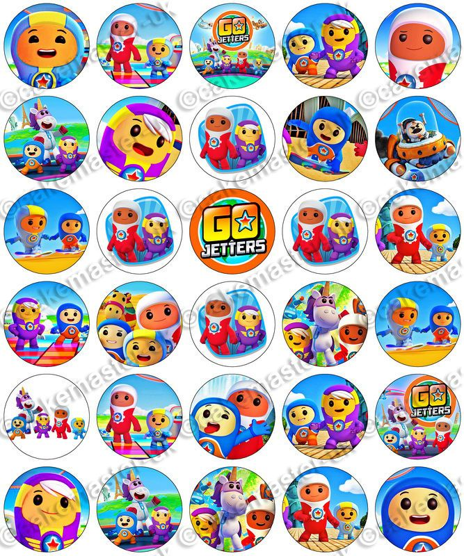 30 x Go Jetters Party Collection Edible Rice Wafer Paper Cupcake Toppers